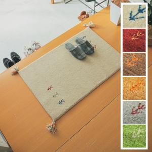 マット/玄関マット/40x60cm ギャッベ ウール100%/手織りギャッベ/床暖/7色 lucentmart-bed