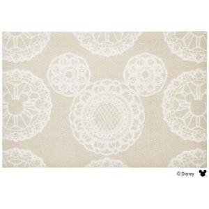 玄関マット ドアマット/ディズニー/ウォッシュ&ドライ/洗える/ミッキー レース ベージュ/60×90cm/日本製|lucentmart-interior