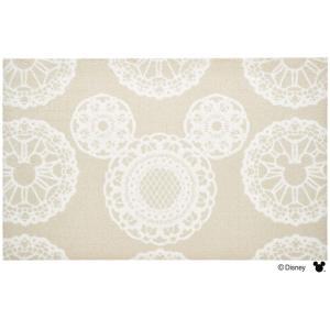 玄関マット ドアマット 中型/ディズニー/ウォッシュ&ドライ/洗える/ミッキー レース ベージュ/75×120cm/日本製|lucentmart-interior