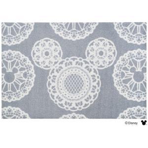 玄関マット ドアマット/ディズニー/ウォッシュ&ドライ/洗える/ミッキー レース グレー/60×90cm/日本製|lucentmart-interior