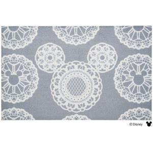 玄関マット ドアマット 中型/ディズニー/ウォッシュ&ドライ/洗える/ミッキー レース グレー/75×120cm/日本製|lucentmart-interior