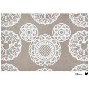 玄関マット ドアマット/ディズニー/ウォッシュ&ドライ/洗える/ミッキー レース グレージュ/60×90cm/日本製|lucentmart-interior