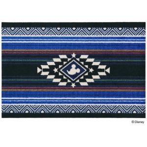 玄関マット ドアマット/ディズニー/ウォッシュ&ドライ/洗える/ミッキー キリム ブルー/60×90cm/日本製|lucentmart-interior