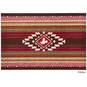 玄関マット ドアマット/ディズニー/ウォッシュ&ドライ/洗える/ミッキー キリム レッド/60×90cm/日本製|lucentmart-interior