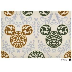 玄関マット ドアマット/ディズニー/ウォッシュ&ドライ/洗える/ミッキー ロココ調 グリーン/60×90cm/日本製|lucentmart-interior