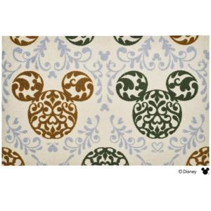 玄関マット ドアマット 中型/ディズニー/ウォッシュ&ドライ/洗える/ミッキー ロココ調 グリーン/75×120cm/日本製|lucentmart-interior