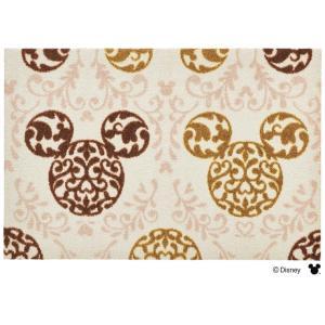玄関マット ドアマット/ディズニー/ウォッシュ&ドライ/洗える/ミッキー ロココ調 ブラウン/50×75cm/日本製|lucentmart-interior