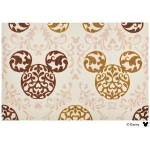 玄関マット ドアマット/ディズニー/ウォッシュ&ドライ/洗える/ミッキー ロココ調 ブラウン/60×90cm/日本製|lucentmart-interior