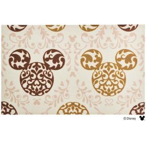 玄関マット ドアマット/ディズニー/ウォッシュ&ドライ/洗える/ミッキー ロココ調 ブラウン/75×120cm lucentmart-interior
