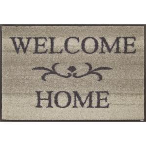 玄関マット ドアマット/ウォッシュ&ドライ/洗える/ウェルカムホーム ベージュ/50×75cm|lucentmart-interior