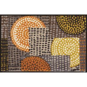 玄関マット ドアマット/ウォッシュ&ドライ/洗える/エスノポップオレンジ/50×75cm|lucentmart-interior