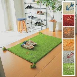 ギャベ マット/玄関マット/60x90cm ウール100%/手織りギャッベ/床暖/アヤカ/7色|lucentmart-interior