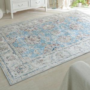ラグ ラグマット/190x190cm ヴィンテージ風 プリントラグ 滑り止め 床暖/ペルシャ絨毯風/ブルー lucentmart-interior