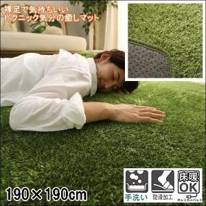 ラグ ラグマット/洗える/190x190cm 芝生調 /ウレタン入りラグ/滑り止め 床暖 lucentmart-interior