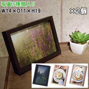 フォトフレーム 写真立て/Mサイズ W14 H19/写真3枚入り/2個セット/3カラー|lucentmart-interior