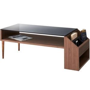 センターテーブル/ガラス天板 マガジンラック付き アルム/W105/ウォルナット|lucentmart-interior