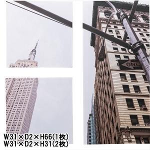 アート 壁掛け 絵画/アートパネル/3枚一組/デザイン ニューヨーク/W31 H66(1枚) W31 H31(2枚)|lucentmart-interior
