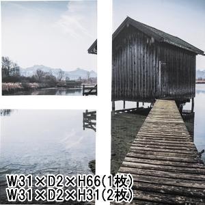アート 壁掛け 絵画/アートパネル/3枚一組/デザイン 湖の小屋/W31 H66(1枚) W31 H31(2枚)|lucentmart-interior