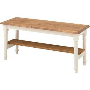 ベンチ 長椅子/木製 シルキー/レトロモダン/W100 H43|lucentmart-interior