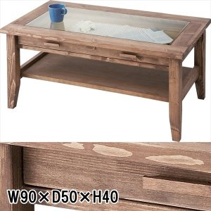 センターテーブル リビングテーブル/パイン オイル仕上げ/エイジング加工/W90 D50 H40|lucentmart-interior