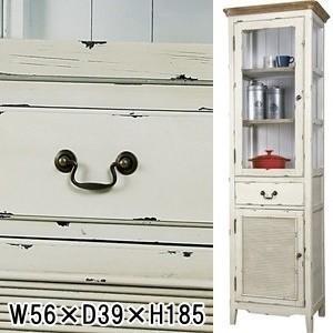 スリム キャビネット/食器棚/フレンチアンティーク/エイジング加工/W56×D39×H185|lucentmart-interior