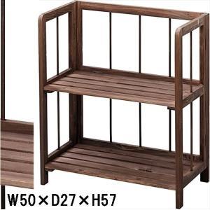 ラック シェルフ リビングラック フォールディング 折り畳み 本棚/2段/W50×D27×H57|lucentmart-interior