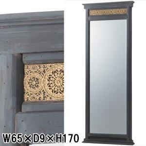 姿見 鏡 ミラー/ウォールミラー/天然木 エイジング加工/W65 D9 H170|lucentmart-interior