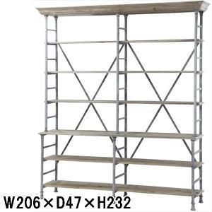 オープンラック/エイジング加工 スチール 杉古材/W206×H232 lucentmart-interior