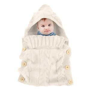 oenbopo ベビー用寝袋 赤ちゃん用おくるみ ニット製 ボタン付き 肌触りいい 出産祝い 記念撮影 ギフトにも大人気 (カーキ)|lucia0322