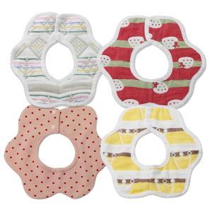 WORLD PORT出産祝い 赤ちゃん スタイ よだれかけ 4枚セット 女の子用 ラッピング済み 誕生日 プレゼント ビブ ベビー|lucia0322