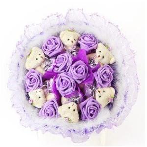 Capli カプリ ハンドメイド くま束 熊束 ベア ブーケ 造花 ぬいぐるみ 白 結婚式 結婚記念日 出産祝い 誕生日 プロポーズ ギフト lucia0322