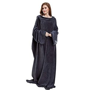Winthome 袖付き毛布 着る毛布 ブランケット 着るブランケット 暖かく柔らかい素材 防寒 保温 軽量 冬の寒さ 足先の冷えや節電対策 lucia0322