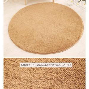 Jiyaru ラグ カーペット 円形 ラグマット ホットカーペット 120cm シャギー 丸い マット マイクロファイバー 絨毯 ブランケッ lucia0322