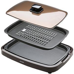 アイリスオーヤマ ホットプレート 平面 焼肉 プレート 2枚 蓋付き 減煙 ブラウン APA-134-T|lucia0322