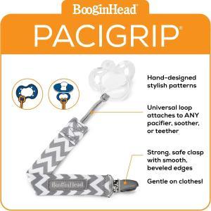 BooginHead (ブーギンヘッド) Paci Grip おしゃぶりホルダー パーチー グリップ Grey White Chevron|lucia0322