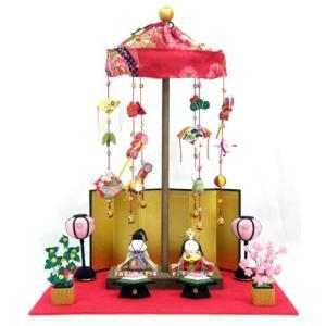 雛人形 コンパクト 『卓上ミニ輪飾り わらべ雛』 親王飾り吊るし雛|lucia0322