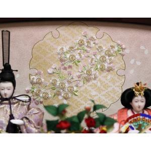 吉徳 雛人形 親王収納飾り 間口61×奥行41×高さ61cm 雪輪桜刺繍台屏風 605453|lucia0322