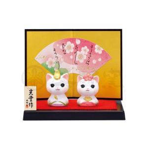 雛人形 コンパクト 陶器 小さい 可愛い ひな人形/錦彩こねこ雛/ミニチュア 初節句 お雛様 おひな様 雛飾り|lucia0322