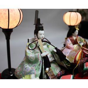 雛人形 ケース飾り ひな人形 ピンク塗パノラマガラスケース 親王飾り W42.5×D24.5×H30.5? 2524Z|lucia0322