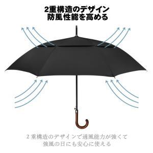 G4Free ゴルフ傘 長傘 ワンタッチ 自動開け大きな傘 100cm 梅雨対策 台風対応 ビジネス用 メンズ (ブラック(120cm))|lucia0322