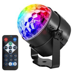 ANBURT ミラーボール ディスコライト ステージライト LED ポータブル 7色 リモコン付き ...