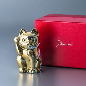 バカラ まねき猫 置物 クリスタル ガラス ゴールド 2612997 Baccarat CHAT L...