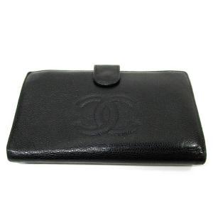 8fba968ef753 CHANEL シャネル 財布 長財布 二つ折り レディース キャビアスキン がま口 黒 A13498【中古】