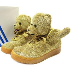 adidas Originals by JEREMY SCOTT アディダス x ジェレミースコット JS BEAR ベアー 27.5 ゴールド 金 G96188 スニーカー 熊 クマ くま 中古|lucio