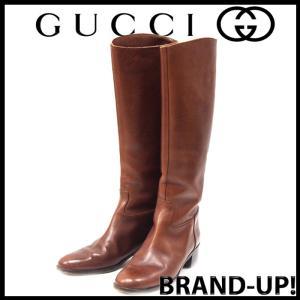 グッチ GUCCI 靴 ブーツ ロング レザー 6 1/2 B 茶 レディース【中古】 lucio