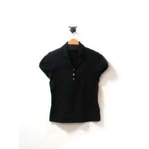 バーバリー ロンドン ポロシャツ カットソー レディース 半袖 オープンカラー  黒 2 中古|lucio