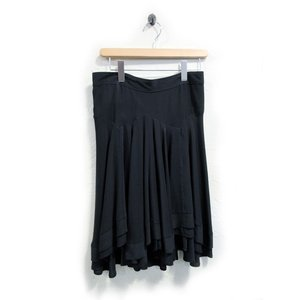 美品 バレンシアガ スカート レディース シルク ギャザー フレアー ティアード 黒 サイズ 38 中古|lucio