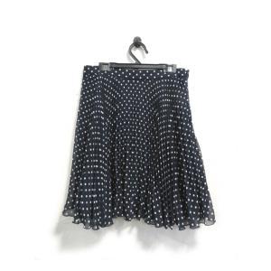 美品 アプワイザーリッシェ スカート 膝丈 プリーツ シフォン ドット柄 紺 2 中古|lucio