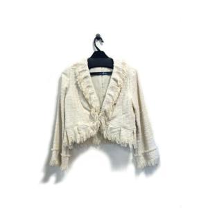 美品 アバンルタン ジャケット レディース ツイード ラメ ベージュ サイズ 38 中古|lucio