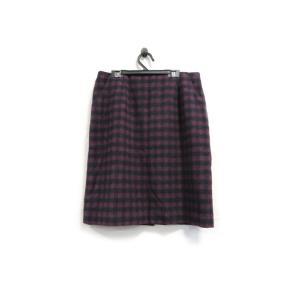 ロペピクニック スカート 膝丈 タイト ウール 起毛 チェック 42 紺 ワイン 中古|lucio